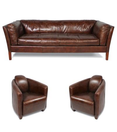 """Ensemble canapé et 2 fauteuils club cuir marron, """"Conrad"""" et """"Joe"""""""