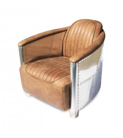 "Flieger-Sessel aus hellbraunem Leder ""Montgomery"""