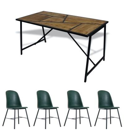 """Table """"Eiffel"""" + 8 chaises """"Jones"""" cuir capitonné"""