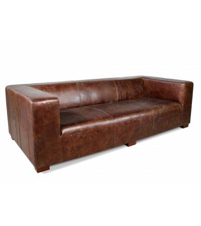 "Canapé Cuir Marron vintage 3 places ""Joyce"""