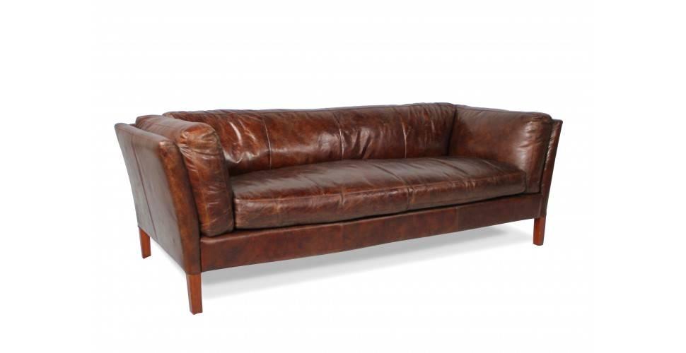"Sofa ""Conrad"" Braun Vintage Leder 3 Sitze"