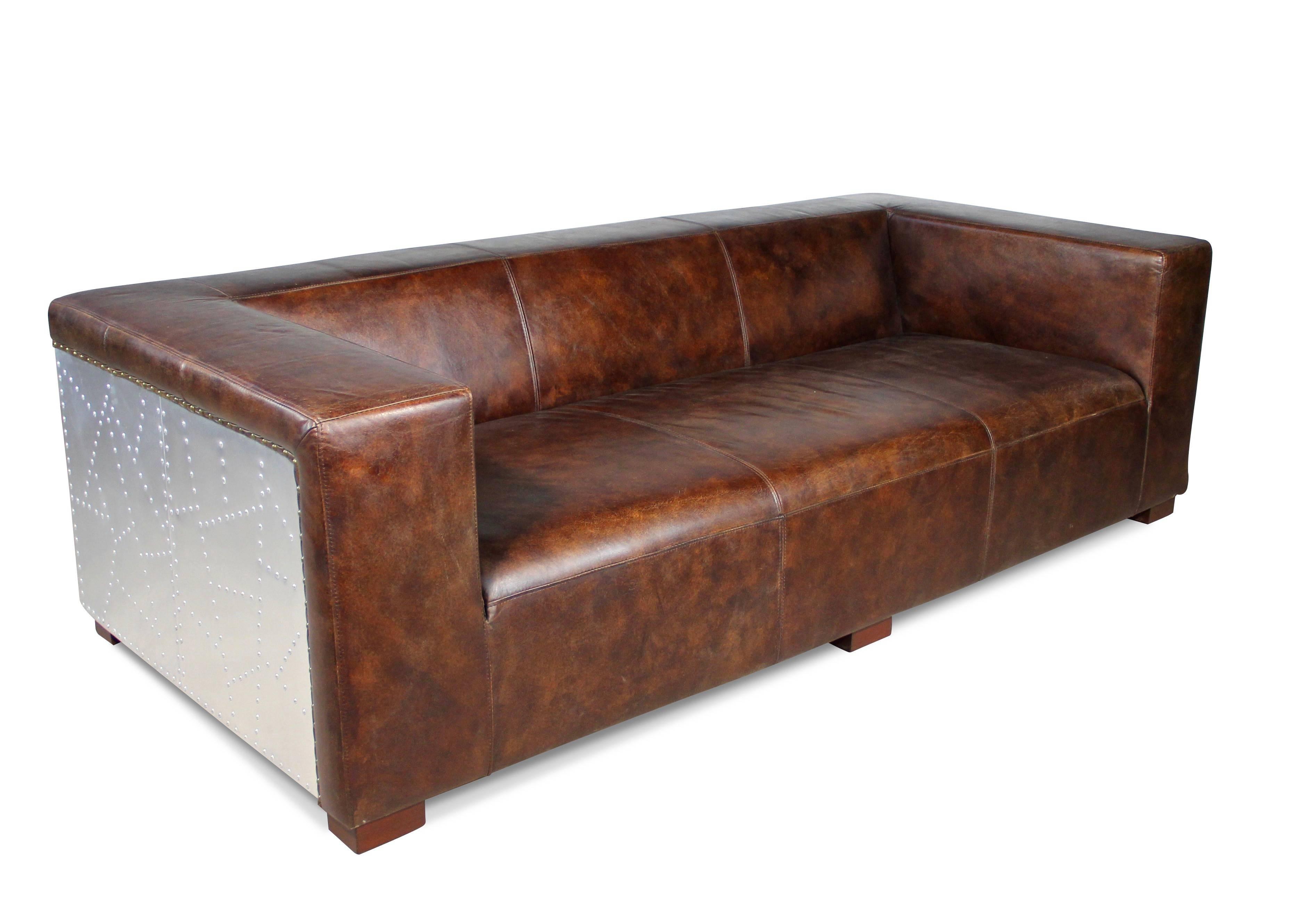 canap aviateur en cuir marron vintage 3 places et. Black Bedroom Furniture Sets. Home Design Ideas