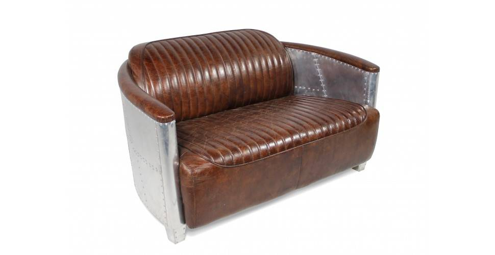 "Sofa Aviator ""Montgomery"" Braun Vintage Leder 2 Plätze"