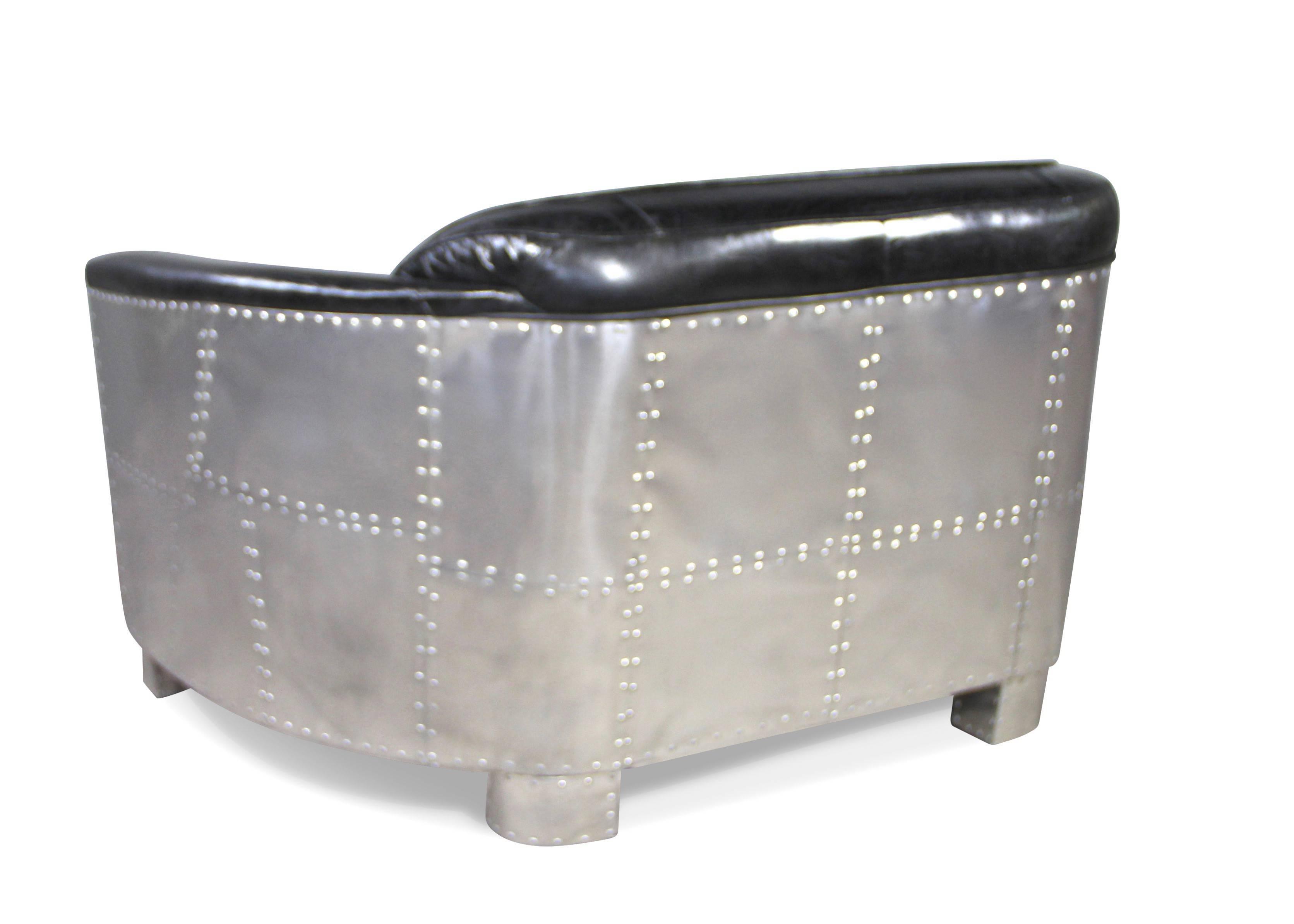 Canape Style Pilote Cuir Marron Vintage Patine Et Aluminium 2 Places