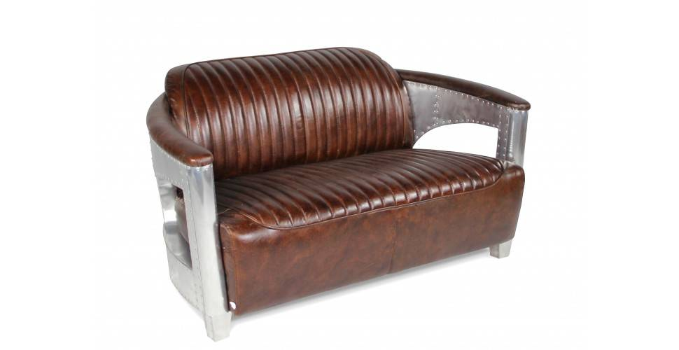 "Canapé Aviateur ""Byrd"" Cuir Marron Vintage 2 places"