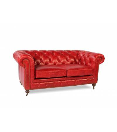 "Canapé Chesterfield Cuir vintage rouge ""Lancelot"" 2 places"