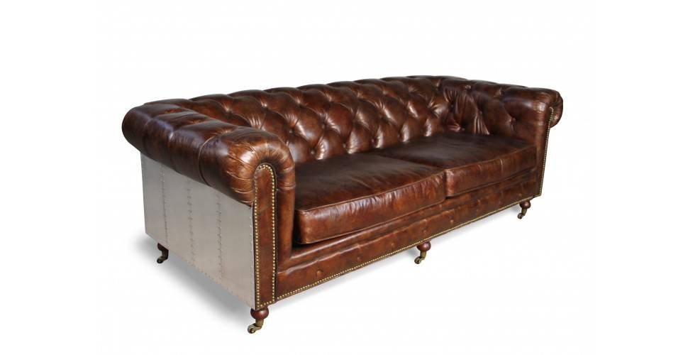 sofa chesterfield in patina braun vintage leder und aluminium 3 sitze. Black Bedroom Furniture Sets. Home Design Ideas