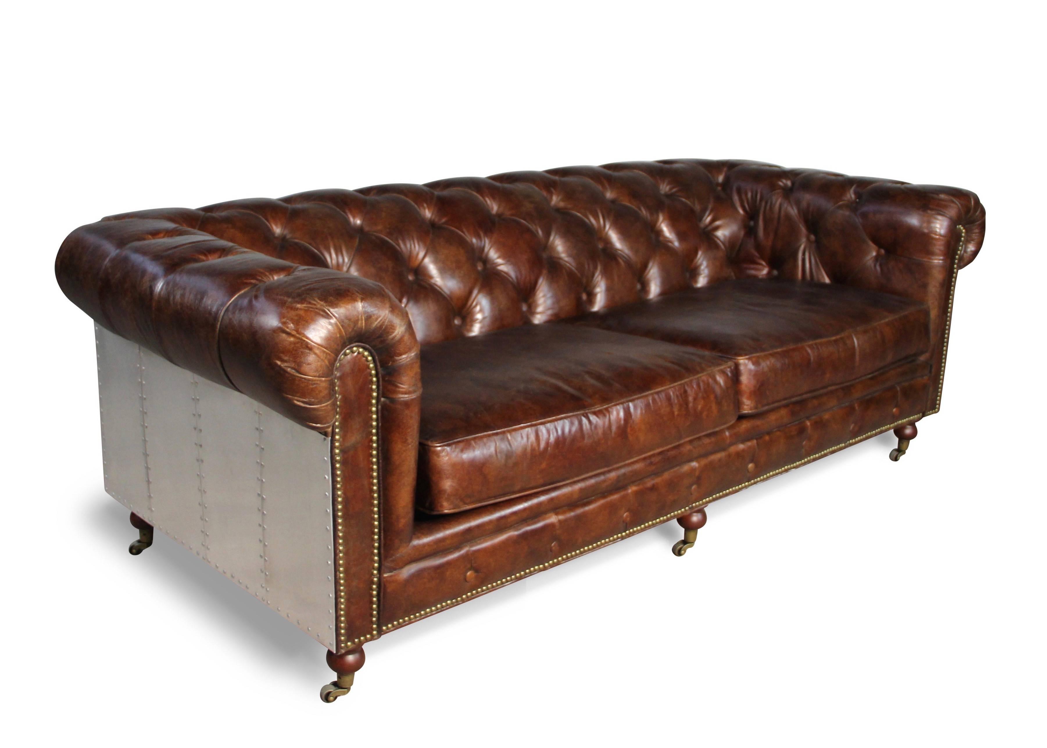 Sofa Chesterfield In Patina Braun Vintage Leder Und Aluminium 3 Sitze