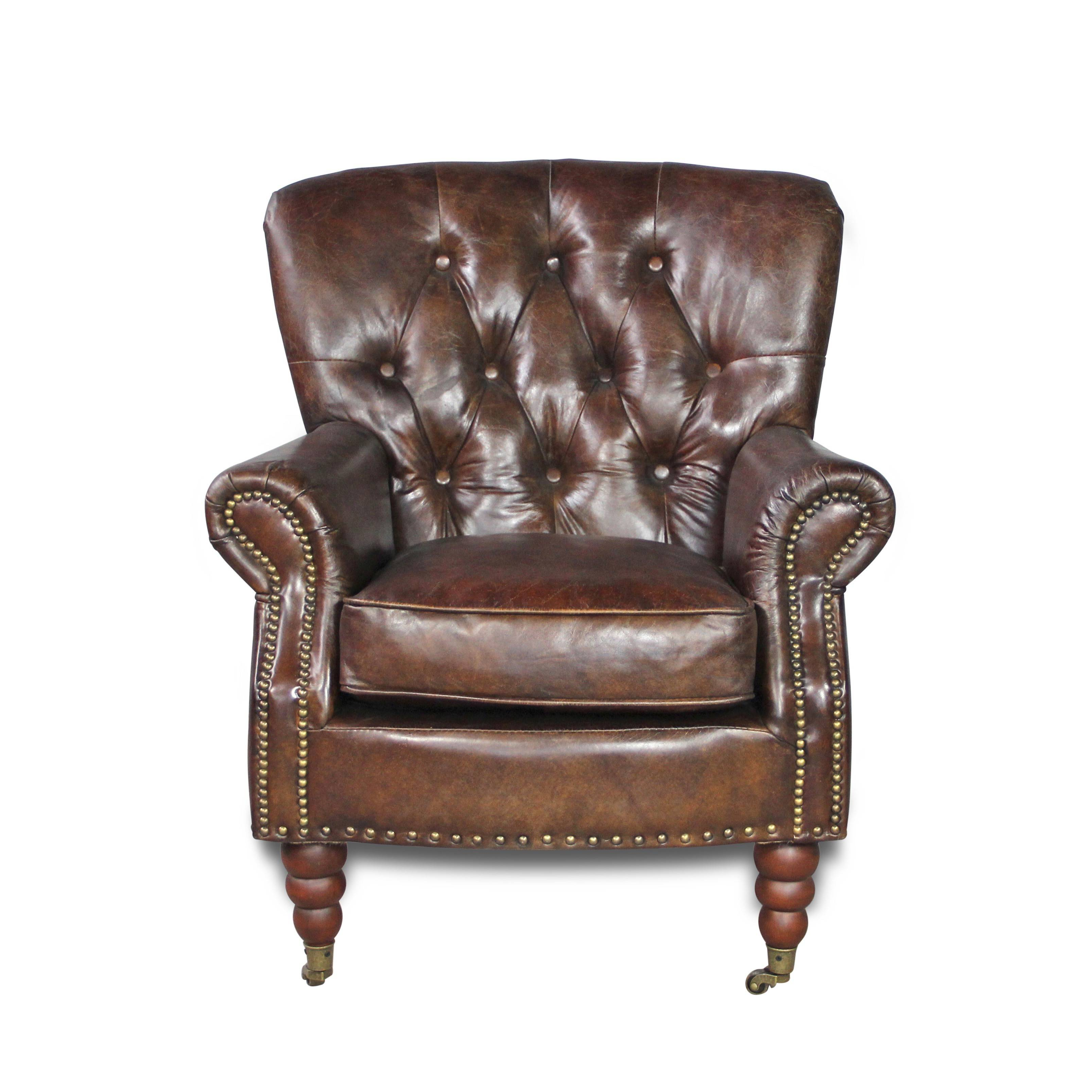 fauteuil club chesterfield style anglais cuir vintage. Black Bedroom Furniture Sets. Home Design Ideas
