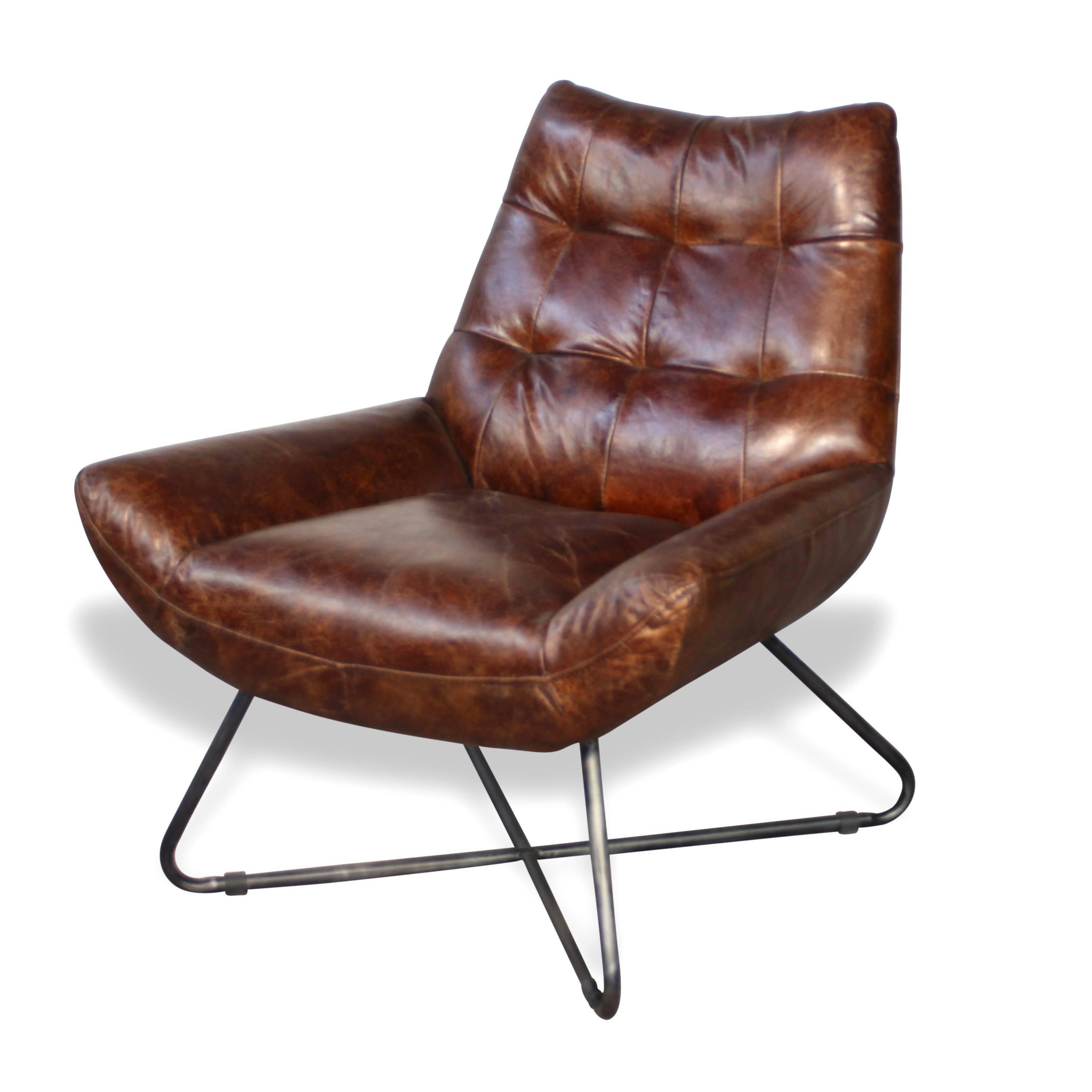 tout neuf 909ae 883ef Fauteuil vintage en cuir brun vieilli design seventies, pieds en métal