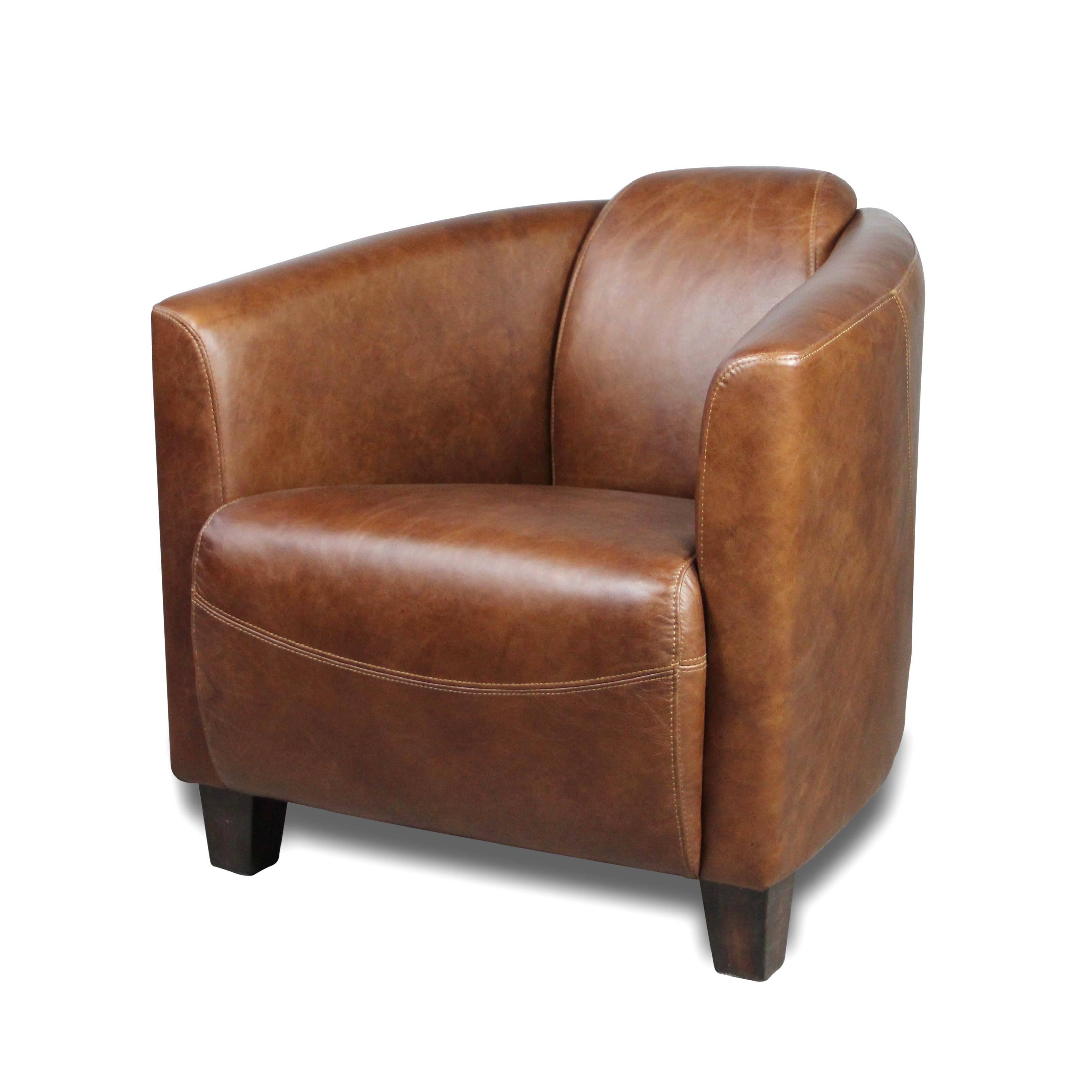 Fauteuil Club Vintage En Cuir Patine Vintage Marron Clair Style Design