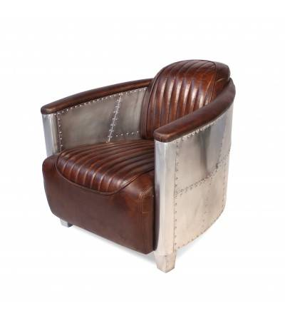 "Fauteuil Aviateur Cuir maron ""Montgomery"" Style Vintage"
