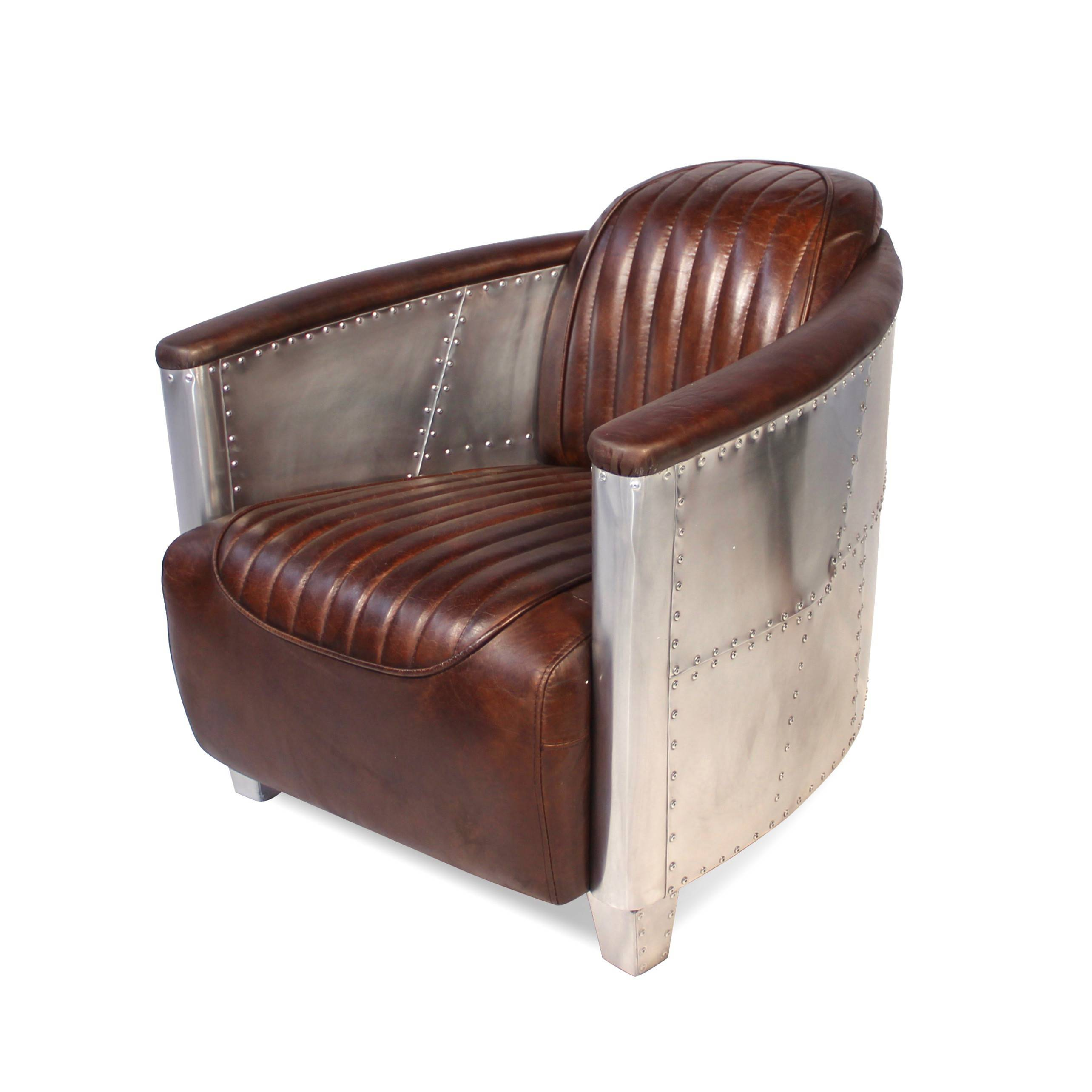 fauteuil aviateur en aluminium et cuir marron vintage patin. Black Bedroom Furniture Sets. Home Design Ideas