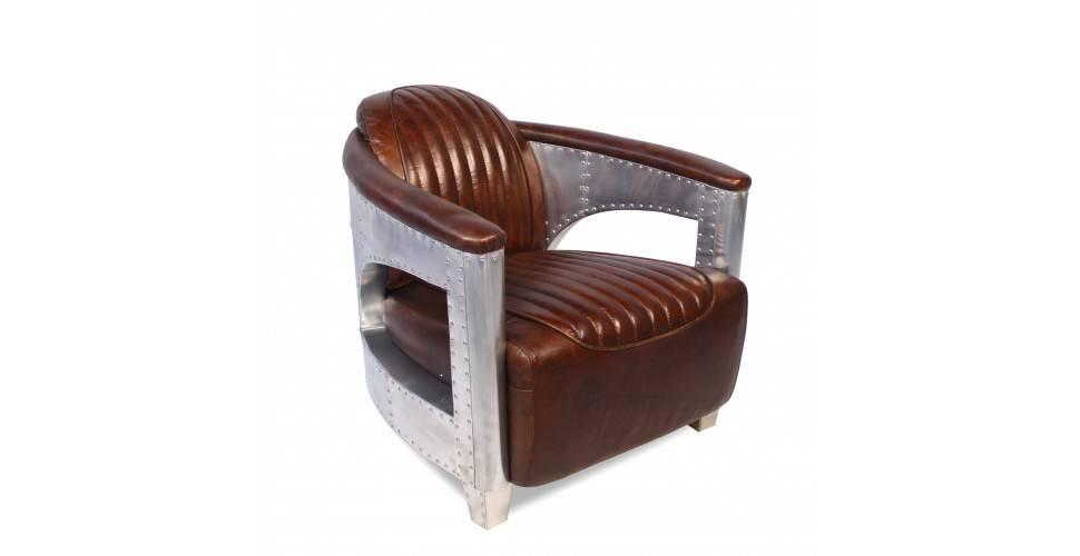 Ledersessel Aviator Patina Braun Vintage Und Aluminium Genietet