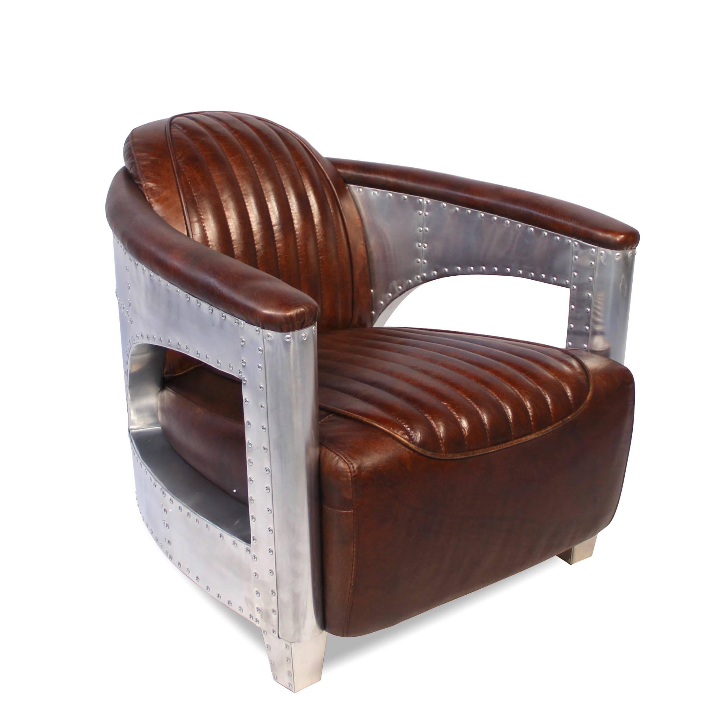 Fauteuil vintage de style aviateur en cuir brun patiné et aluminium cf3465e0f29