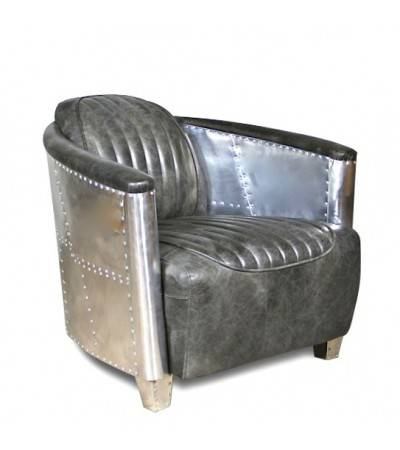 "Aviator Sessel ""Montgomery"" Grau Vintage Leder"