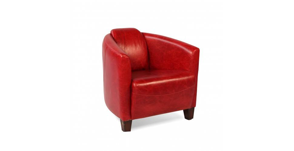 "Fauteuil Club Cuir Vintage Rouge ""Billy"""