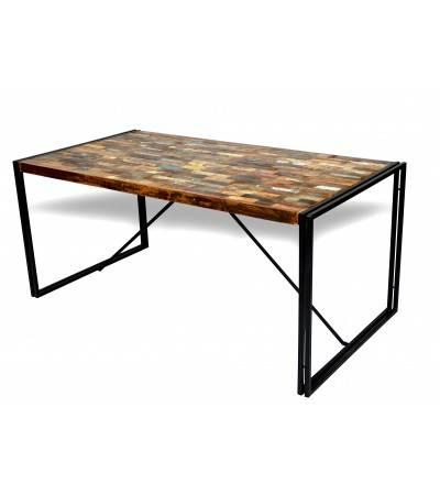 """Table de Repas style industriel """"Nevada"""", plateau briquettes colorées, 170 cm"""