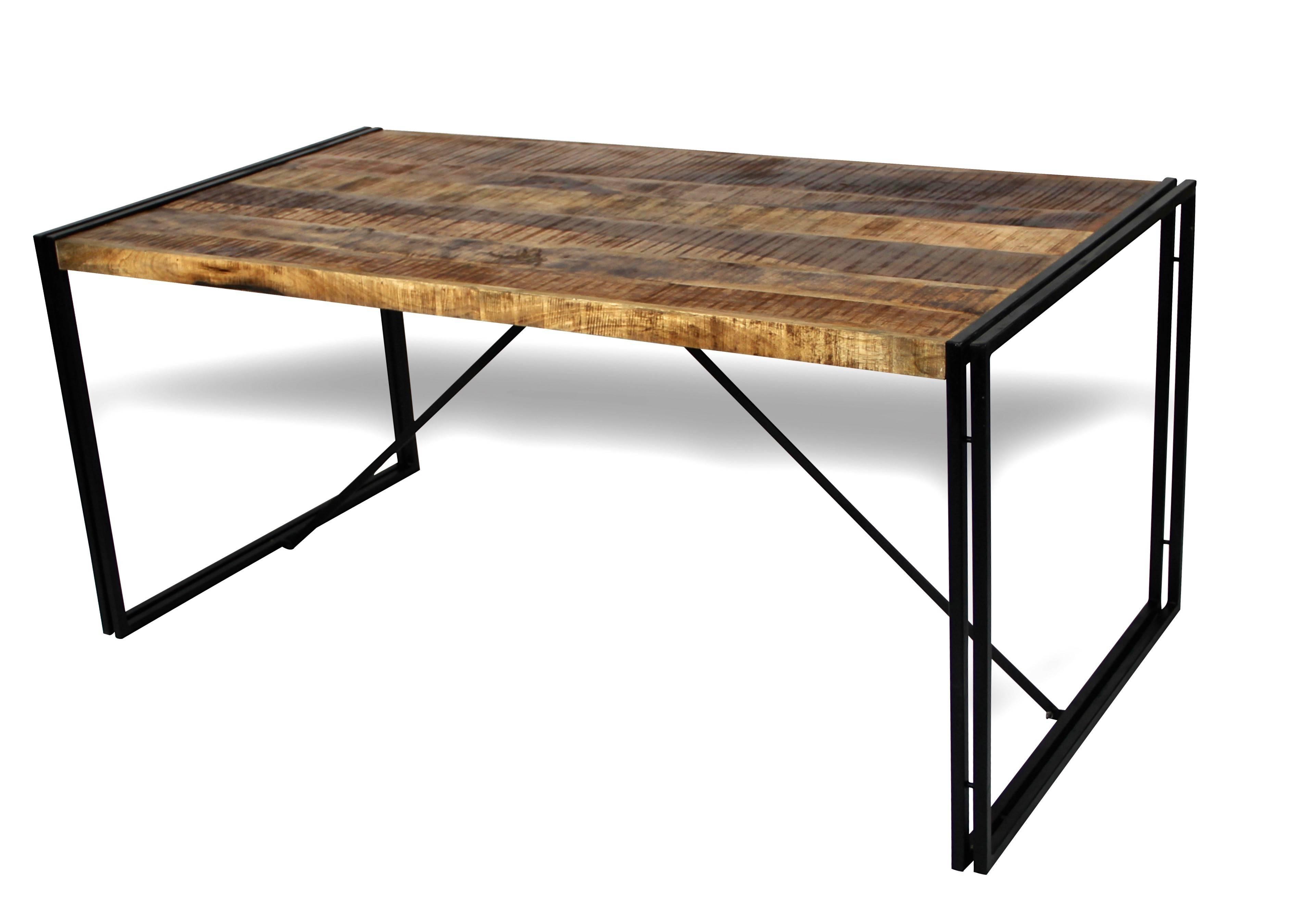 Table de repas en bois patiné de manguier et métal vieilli style usine
