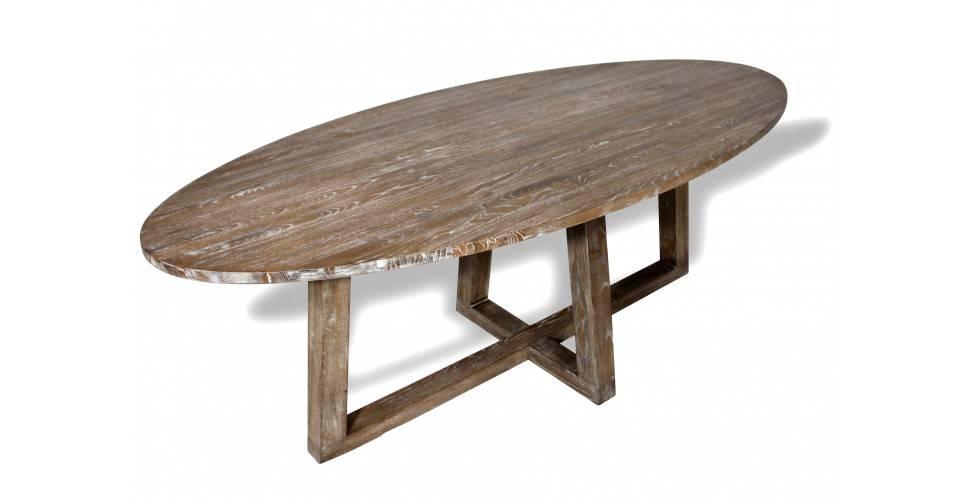 """Table de Repas ovale bois massif """"Sigrid"""", 220 cm"""