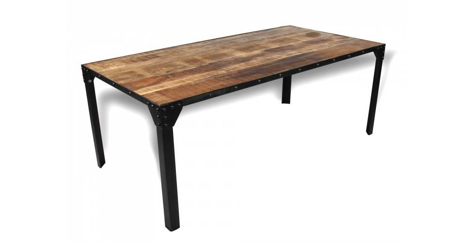 "Table de Repas vintage industrielle ""Eiffel"", 200 cm"