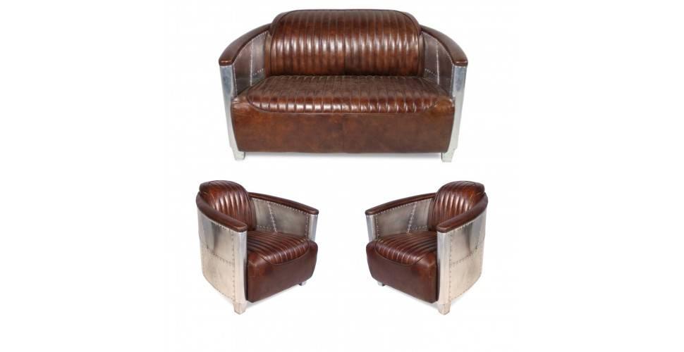 """Canapé aviateur """"Montgomery"""" et 2 fauteuils aviateurs """"Montgomery"""" cuir marron"""