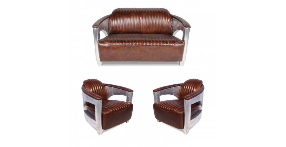 """Canapé aviateur """"Byrd"""" et 2 fauteuils aviateurs """"Byrd"""" cuir marron"""