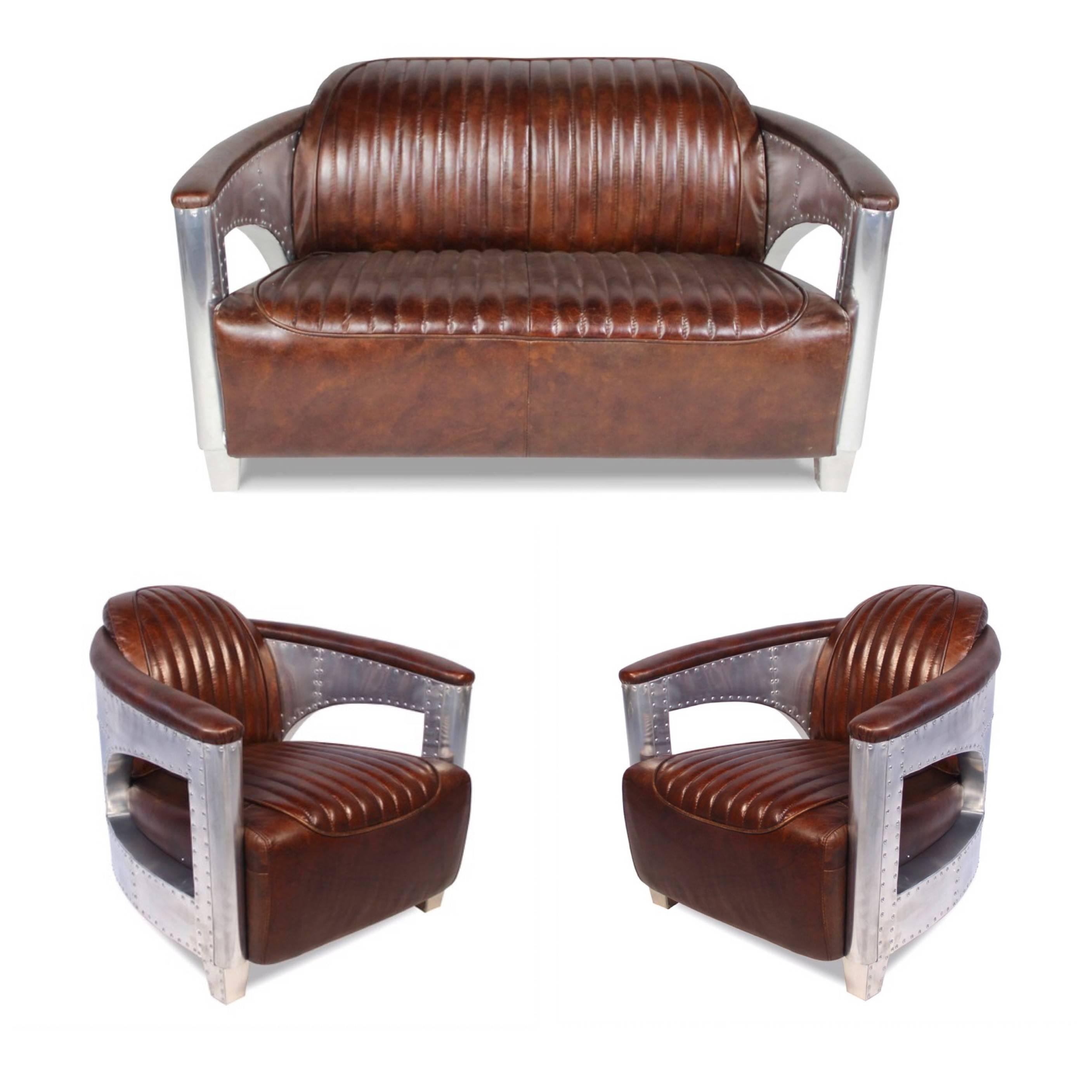 Canapé Fleur De Cuir ensemble canapé 2 places et 2 fauteuils cuir marron design aviateur