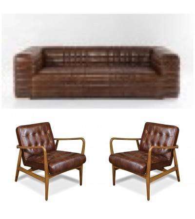 "Canapé ""Graham"" et 2 fauteuils club ""Buddy"" cuir marron"