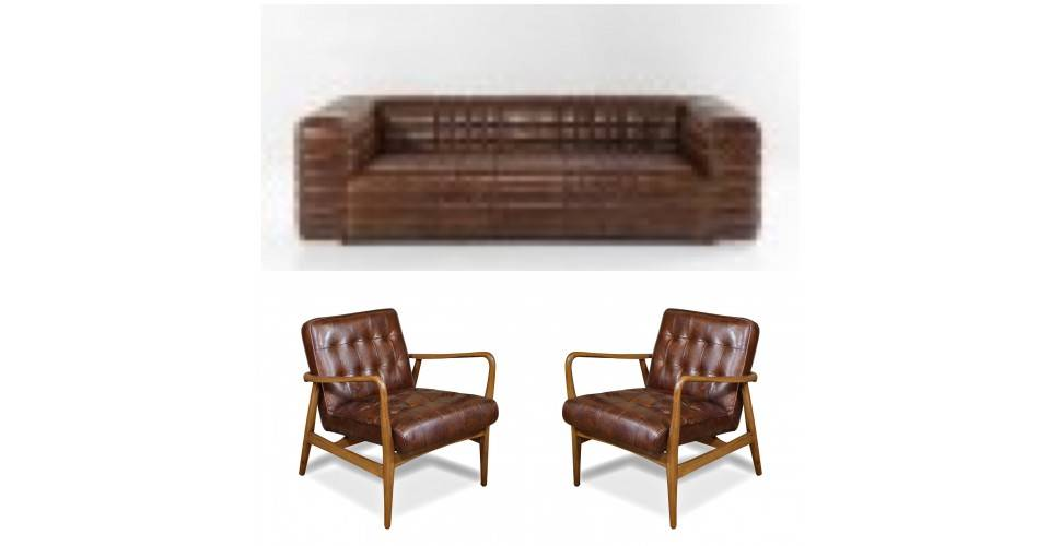 "Sofa ""Graham"" und 2 Sessel Club ""Buddy"" braunes Leder"