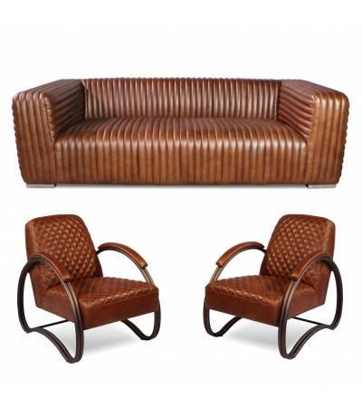 """Canapé """"Dexter"""" et 2 fauteuils club """"Taylor"""" cuir marron clair"""