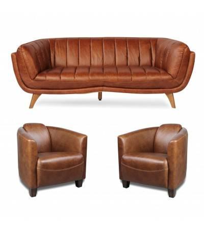 """Canapé """"Jessie"""" et 2 fauteuils club """"Billy"""" cuir marron clair"""