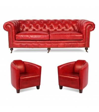 """Chesterfield Sofa """"Lancelot"""" + 2 Sessel """"Billy"""" aus rotem Leder"""