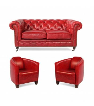 "Canapé Chesterfield ""Lancelot"" + 2 fauteuils ""Billy"" cuir rouge"