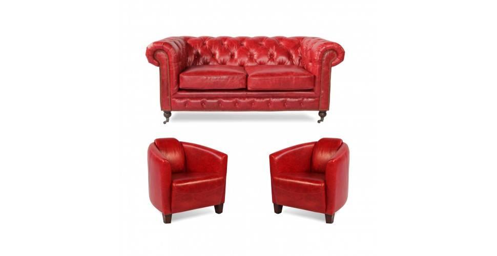 "Canapé Chesterfield ""Lancelot"" + 2 fauteuils ""Billy"" cuir rouge"