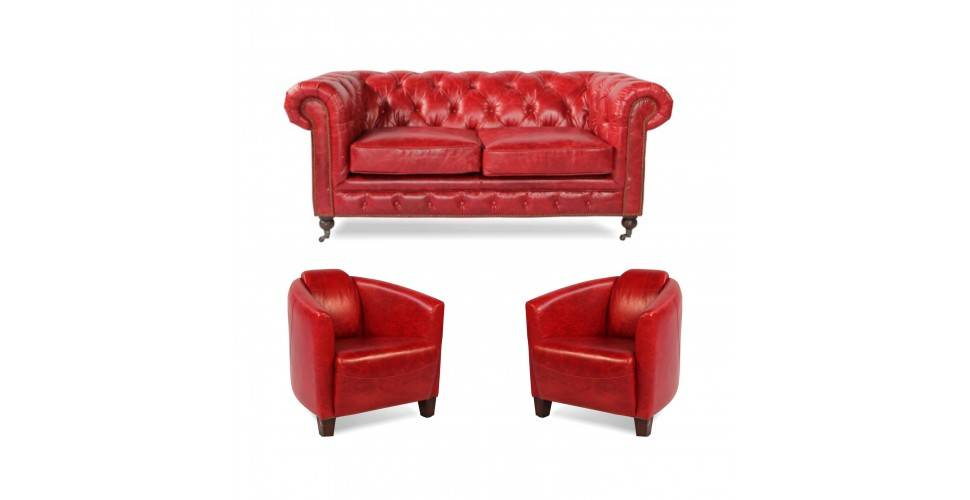 "Chesterfield Sofa ""Lancelot"" + 2 Sessel ""Billy"" aus rotem Leder"