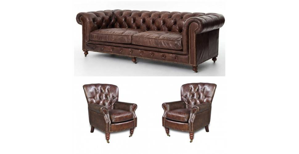 "Chesterfield Sofa ""Byron"" + 2 Sessel ""Winston"""