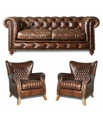 "Chesterfield Sofa ""Lancelot"" + 2 Sessel ""Ritchie"""