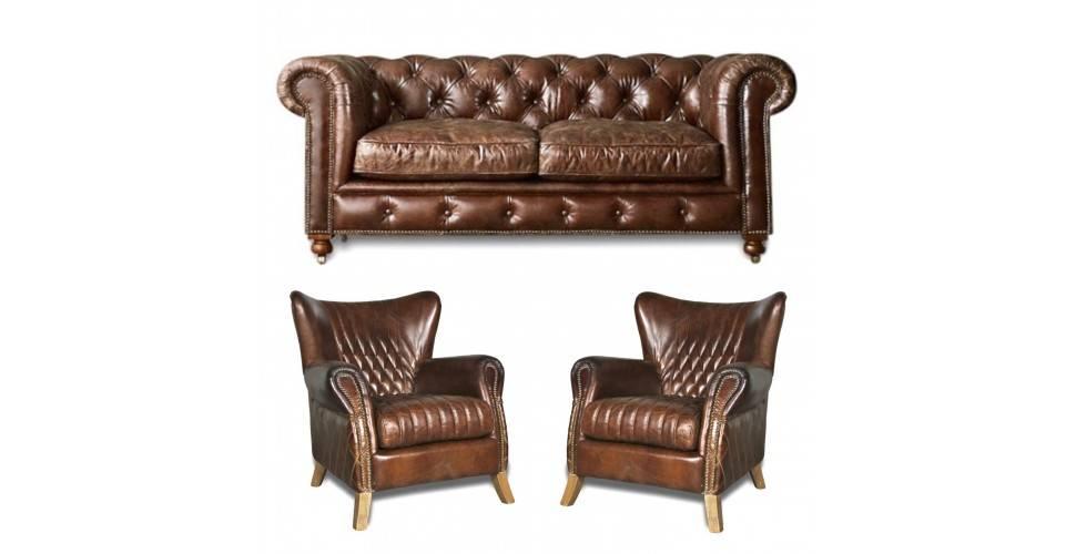 Chesterfield Braunes Ledersofa Mit Zwei Sesseln Und Zwei Sesseln