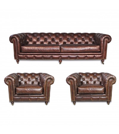 "Canapé Chesterfield ""Clyde"" + 2 fauteuils ""Clyde"""