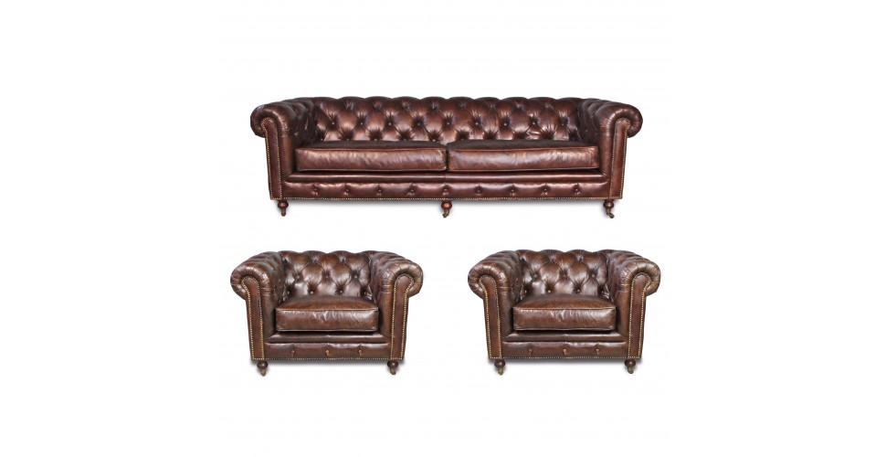 "Canapé Chesterfield ""Clyde"" + 2 fauteuils ""Clyde"""