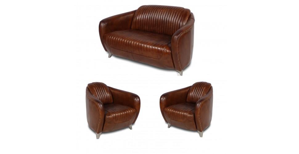 """Canapé """"Stanley"""" et 2 fauteuils club """"Stanley"""" cuir marron clair"""