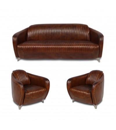 """Ensemble club canapé """"Stanley"""" et 2 fauteuils """"Stanley"""""""