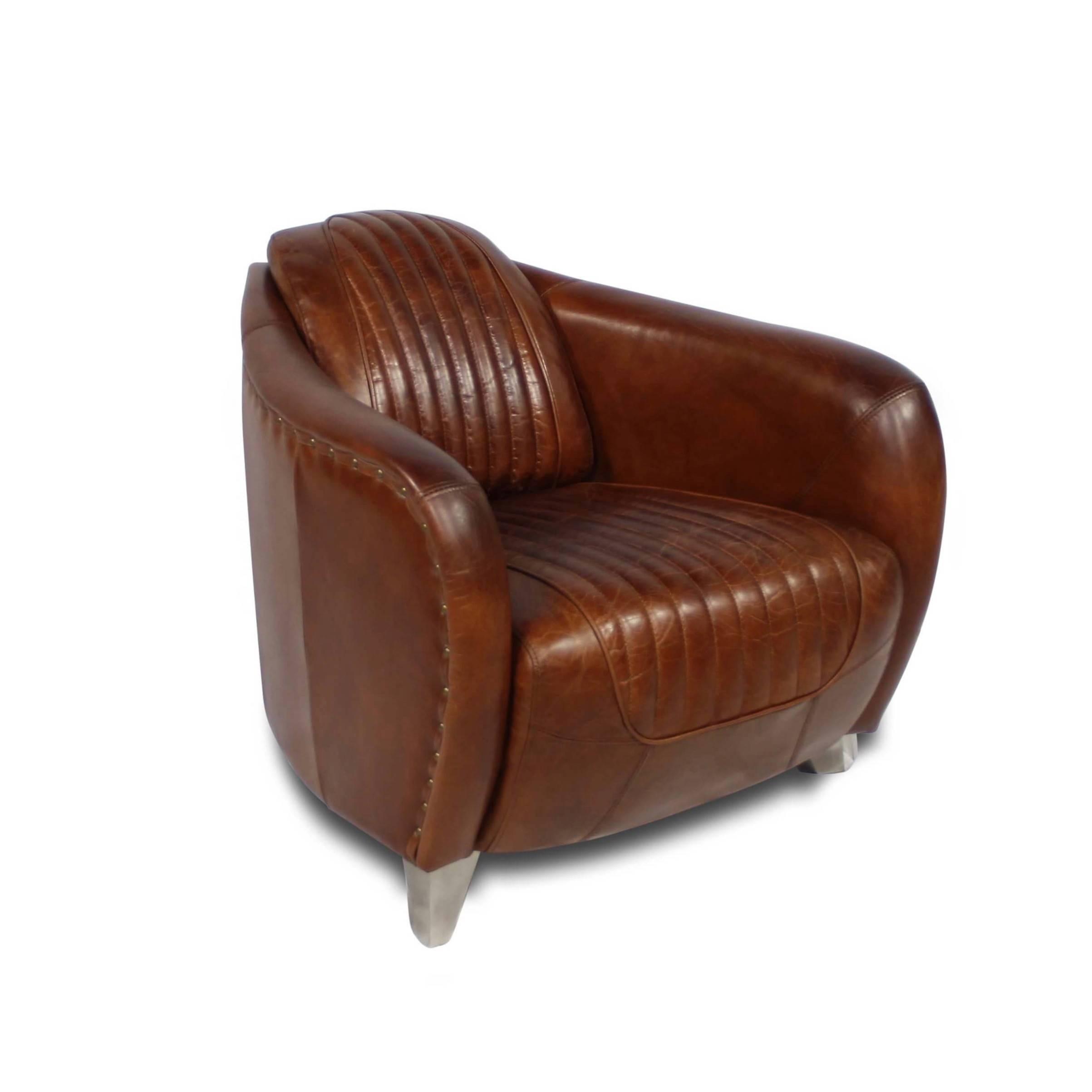 Clubsessel In Braunem Leder Vintage Stil Frankreich Stanfield