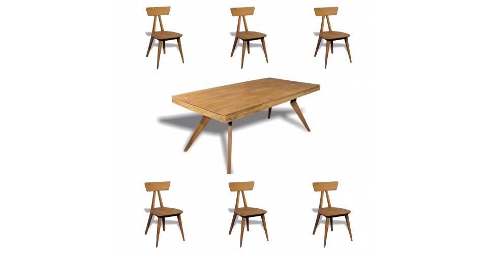 """Table de Repas """"Samui"""" + 6 chaises """"Tao"""" en bois de teck recyclé massif"""