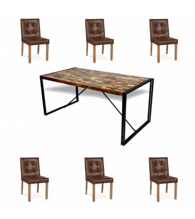 "Table ""Nevada"" + 6 chaises ""Jones"" cuir marron"
