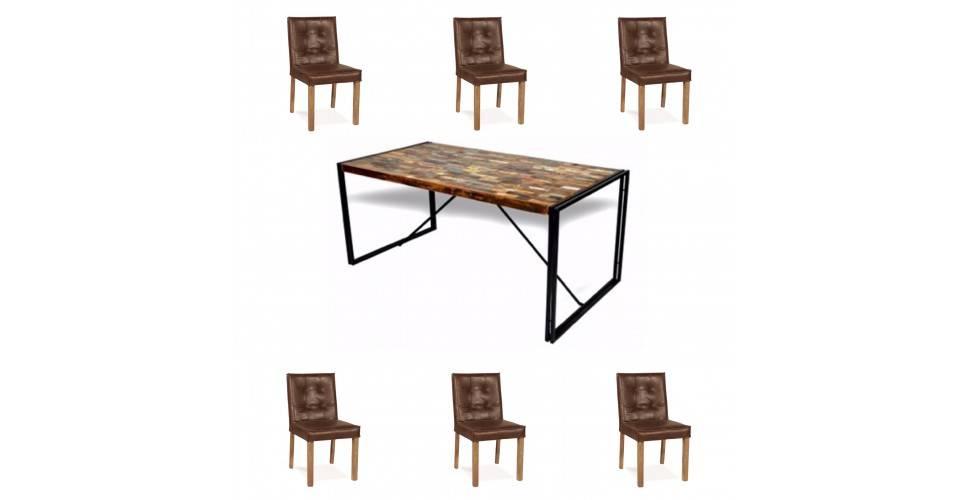 """Table """"Nevada"""" + 6 chaises """"Jones"""" cuir marron"""