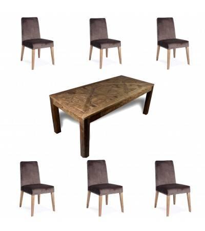 """Table """"Château"""" + 6 chaises """"Mia"""" velours gris"""