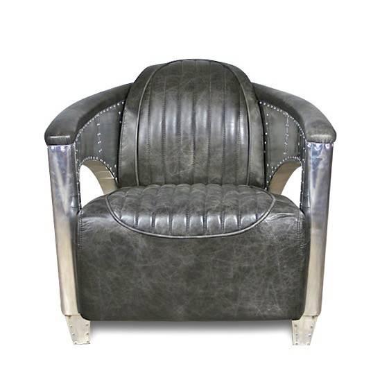 fauteuil club aviateur cuir gris vintage et patin france stanfield. Black Bedroom Furniture Sets. Home Design Ideas