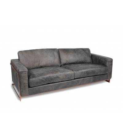 "Design Sofa ""Connor"" graues Leder"